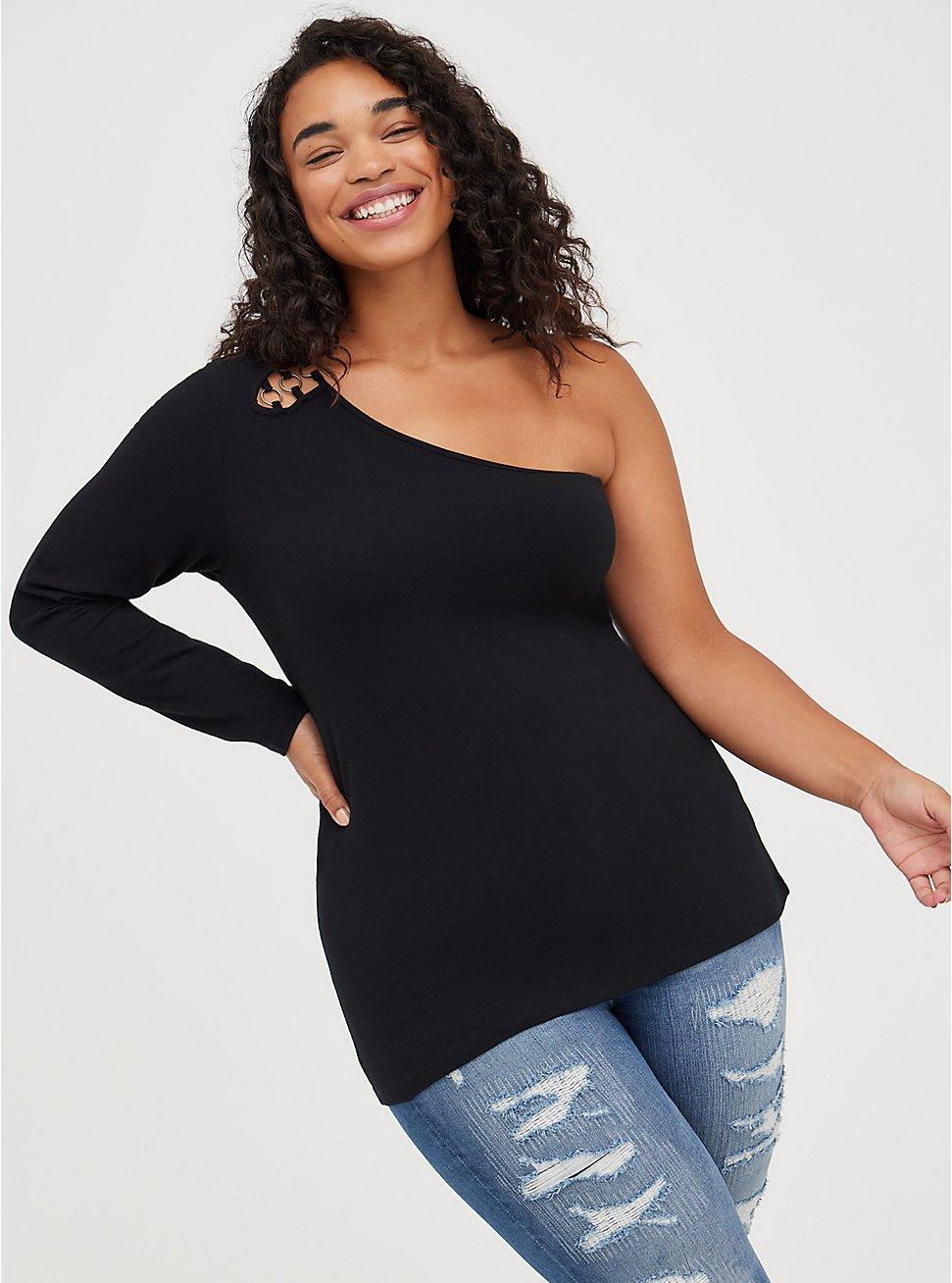 One Shoulder Sweater - Foxy Black, DEEP BLACK, hi-res
