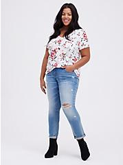 Breast Cancer Awareness Classic Fit Pocket Tee - Heritage Slub Floral White, OTHER PRINTS, alternate