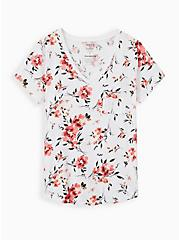 Breast Cancer Awareness Classic Fit Pocket Tee - Heritage Slub Floral White, OTHER PRINTS, hi-res