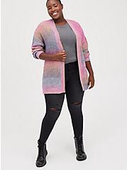 Open Cardigan Sweater - Rainbow, STRIPE - MULTICOLOR, alternate