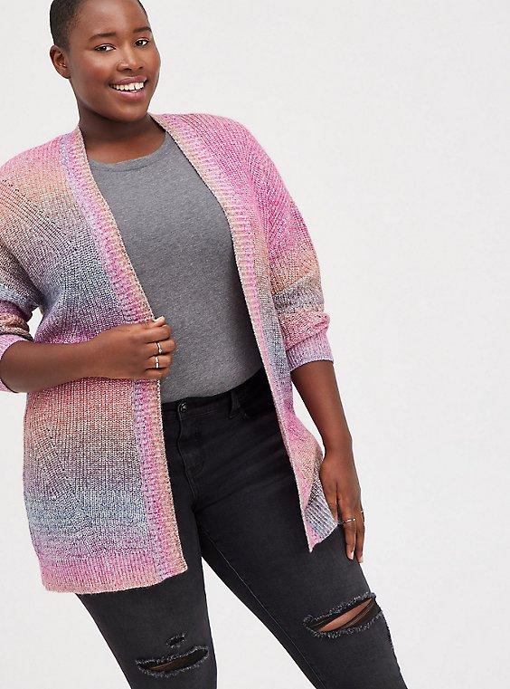 Open Cardigan Sweater - Rainbow, STRIPE - MULTICOLOR, hi-res