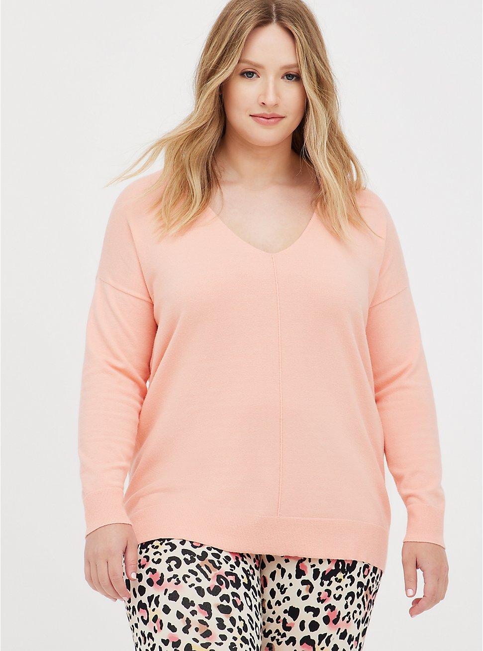 Pullover Sweater - Drop Shoulder Peach , PEACH, hi-res