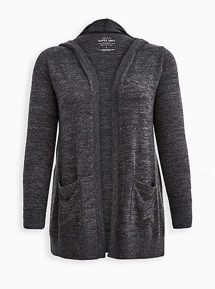 Hooded Cardigan - Super Soft Plush Charcoal, CHARCOAL  GREY, hi-res