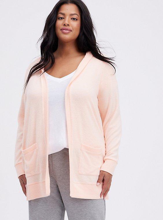Hooded Cardigan - Super Soft Plush Peach, PEACH, hi-res
