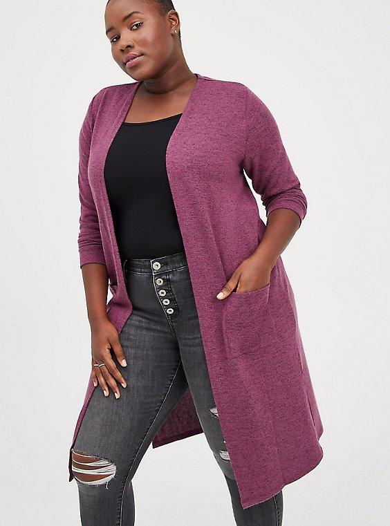 Duster - Super Soft Plush Dark Purple, PURPLE, hi-res