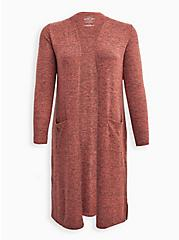 Plus Size Duster - Super Soft Plush Rusty Brown, BROWN, hi-res