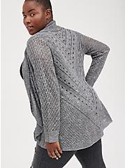 Shawl Cardigan Sweater - Pointelle Grey, CHARCOAL  GREY, alternate
