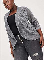 Shawl Cardigan Sweater - Pointelle Grey, CHARCOAL  GREY, hi-res