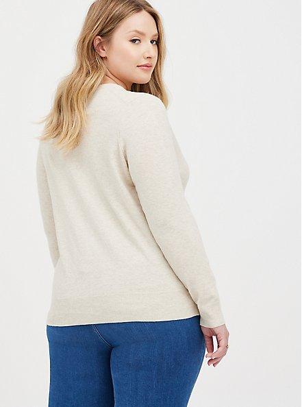 Classic Cardigan Sweater - Ultra Soft Heather Oatmeal, ANIMAL, alternate