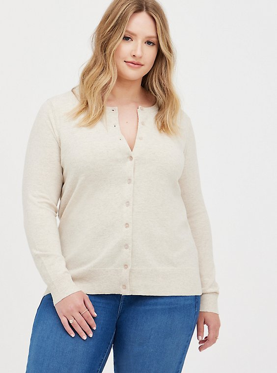 Classic Cardigan Sweater - Ultra Soft Heather Oatmeal, ANIMAL, hi-res