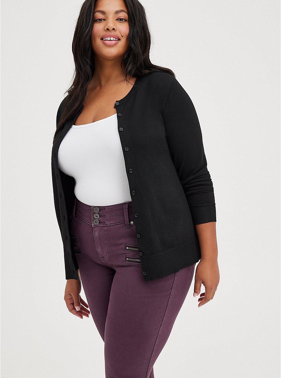Classic Cardigan Sweater - Ultra Soft Black, DEEP BLACK, hi-res