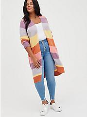 Open Front Cardigan Sweater - Color Block, STRIPE - MULTICOLOR, alternate
