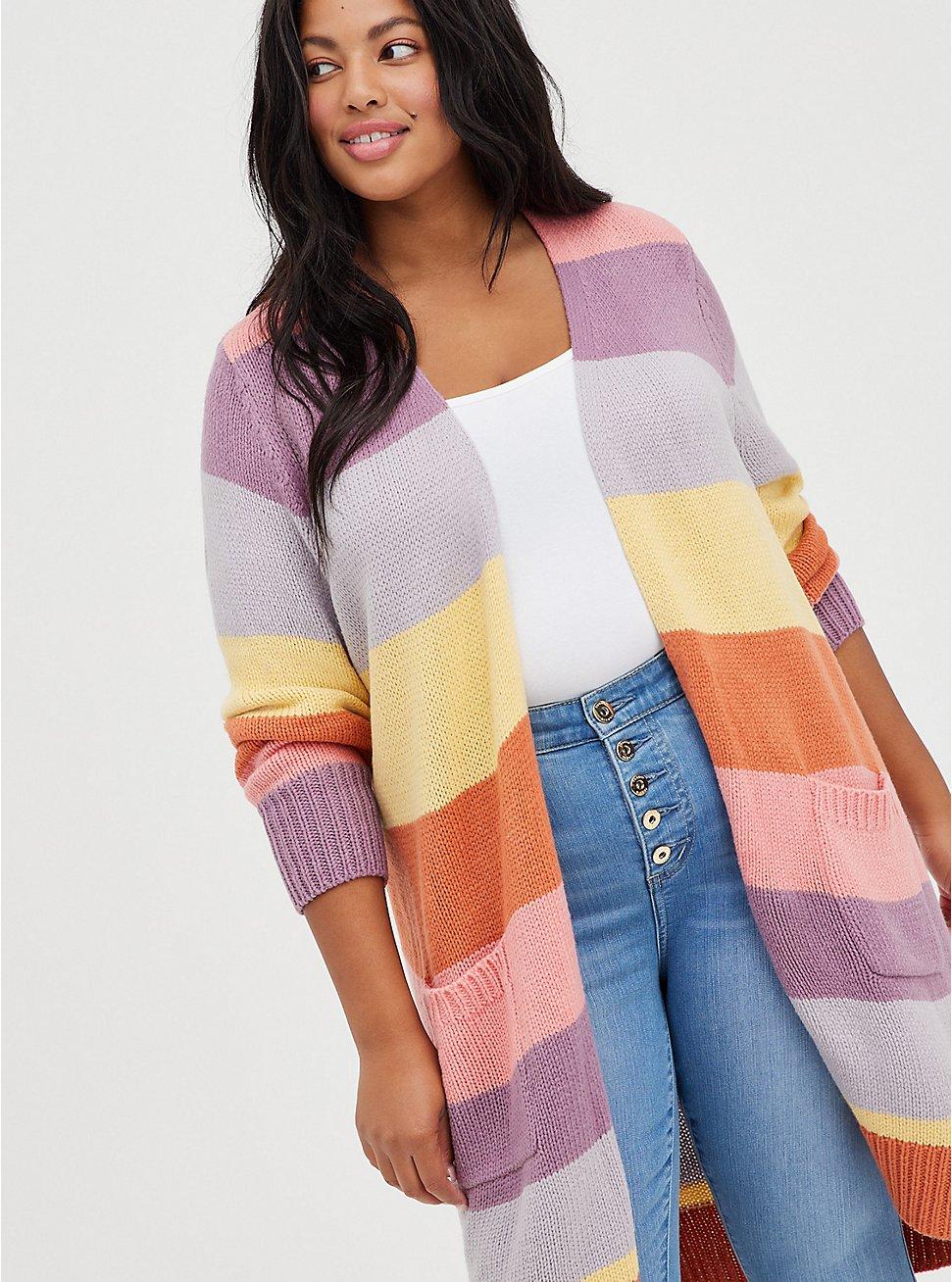 Open Front Cardigan Sweater - Color Block, STRIPE - MULTICOLOR, hi-res