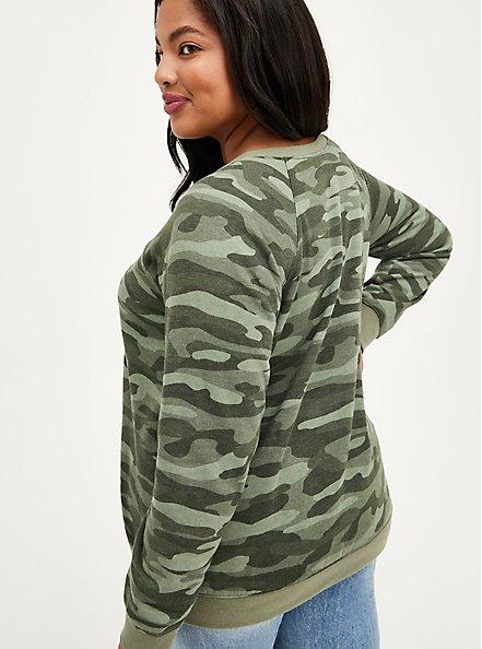 Raglan Sweatshirt - Cozy Fleece Camo, HEATHER GREY, alternate