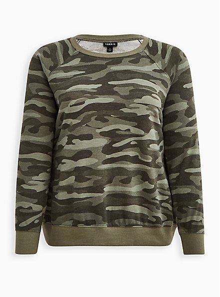Raglan Sweatshirt - Cozy Fleece Camo, HEATHER GREY, hi-res