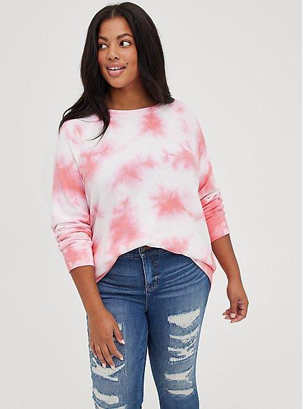 Raglan Sweatshirt - Fleece Tie Dye Pink, , alternate