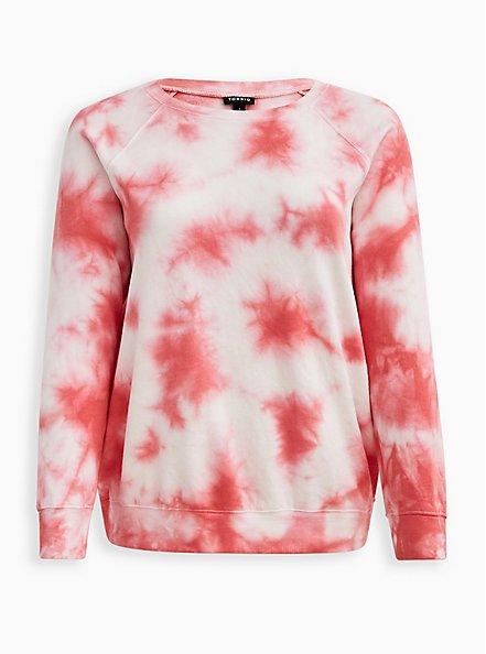 Raglan Sweatshirt - Fleece Tie Dye Pink, , hi-res