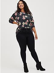 Raglan Sweatshirt - Cozy Fleece Floral Black, OTHER PRINTS, alternate