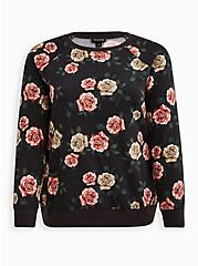 Raglan Sweatshirt - Cozy Fleece Floral Black, OTHER PRINTS, hi-res