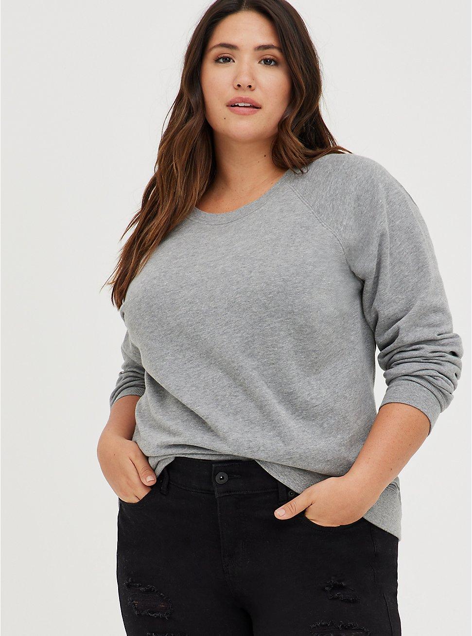 Raglan Sweatshirt - Cozy Fleece Heather Grey, HEATHER GREY, hi-res