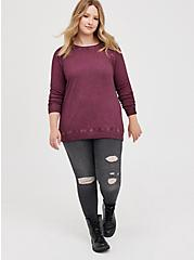 Raglan Sweatshirt - Fleece Purple Wash, PURPLE, alternate