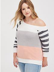 Off Shoulder Sweatshirt - Super Soft Plush Black, OTHER PRINTS, hi-res