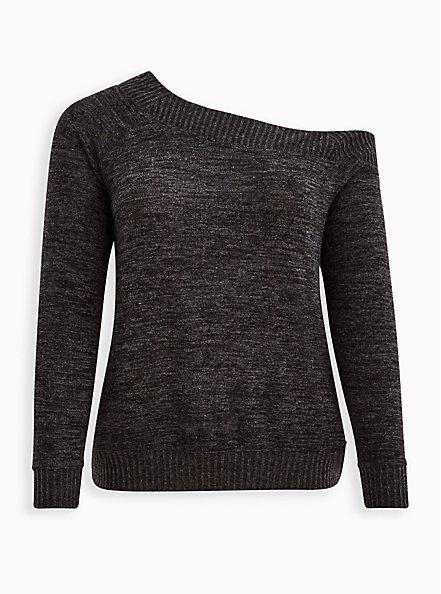 Plus Size Off Shoulder Sweatshirt - Super Soft Plush Black, DEEP BLACK, hi-res