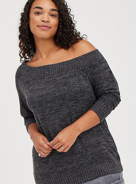 Off Shoulder Sweatshirt - Super Soft Plush Black, DEEP BLACK, hi-res