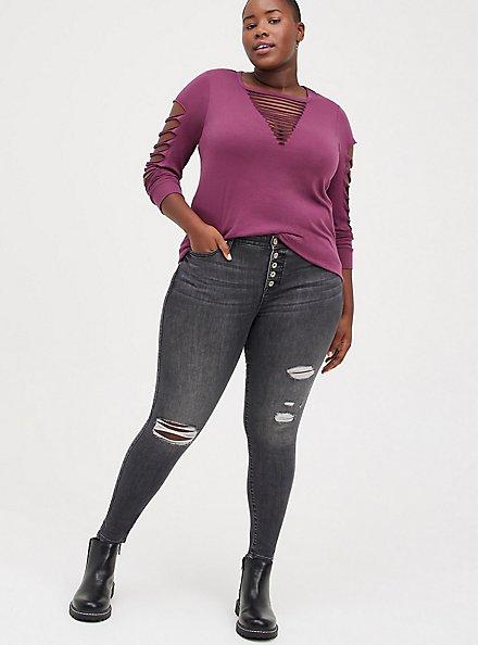 Plus Size Classic Fit Slash Tee - Dark Purple, PURPLE, alternate