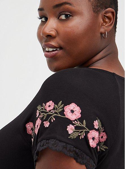Babydoll Top - Super Soft Floral Embroidered Black, DEEP BLACK, alternate