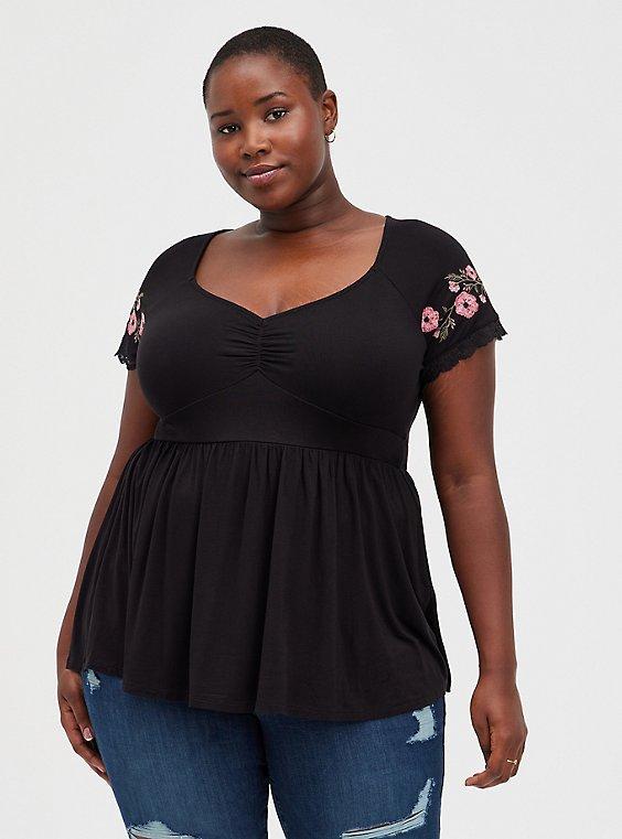 Babydoll Top - Super Soft Floral Embroidered Black, DEEP BLACK, hi-res