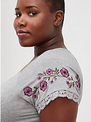 Babydoll Top - Super Soft Embroidered Heather Grey, HEATHER GREY, alternate
