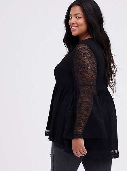 Bell-Sleeve Babydoll Top - Lace Black, DEEP BLACK, alternate
