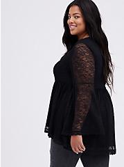 Plus Size Bell-Sleeve Babydoll Top - Lace Black, DEEP BLACK, alternate