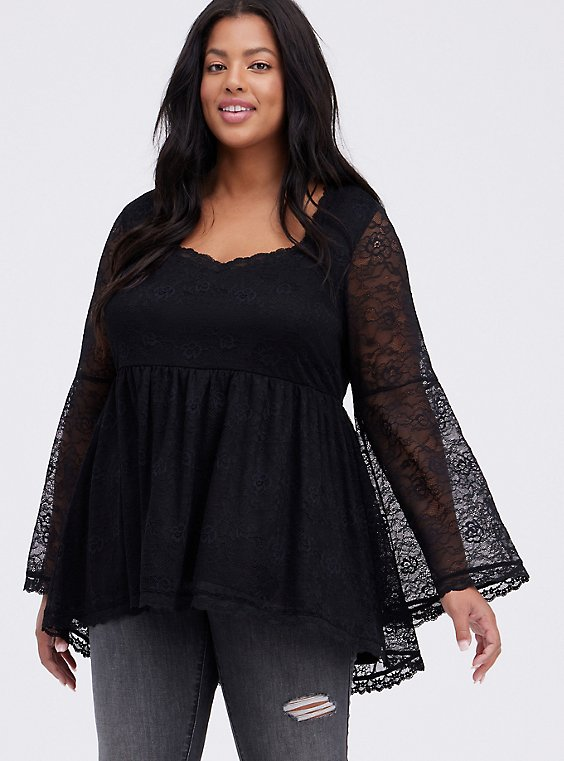 Bell-Sleeve Babydoll Top - Lace Black, DEEP BLACK, hi-res