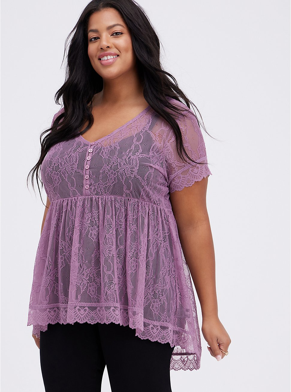 Babydoll Top - Lace Purple, PURPLE, hi-res