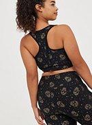 Plus Size Longline Wicking Active Sports Bra - Foil Star & Skull Black, , hi-res