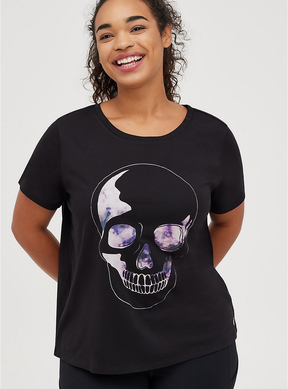 Wicking Active Tee - Skull Tie Dye Black, DEEP BLACK, hi-res