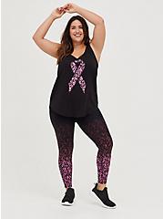 Breast Cancer Awareness Wicking Active Tank - Ribbon Leopard Black, DEEP BLACK, alternate