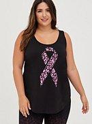 Breast Cancer Awareness Wicking Active Tank - Ribbon Leopard Black, , hi-res