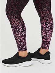 Breast Cancer Awareness Wicking Active Legging - Leopard Black & Pink, LEOPARD - BLACK, alternate