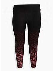 Breast Cancer Awareness Wicking Active Legging - Leopard Black & Pink, LEOPARD - BLACK, hi-res