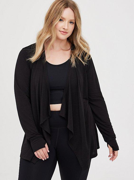 Drape Front Active Cardigan - Black, DEEP BLACK, hi-res