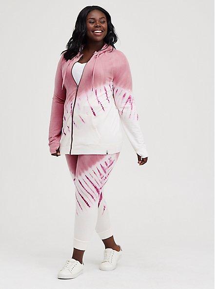 Plus Size Breast Cancer Awareness Zip Active Hoodie - Pink Tie Dye , TIE DYE, alternate