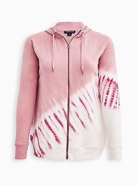 Plus Size Breast Cancer Awareness Zip Active Hoodie - Pink Tie Dye , TIE DYE, hi-res