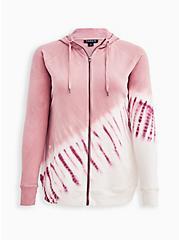 Breast Cancer Awareness Zip Active Hoodie - Pink Tie Dye , TIE DYE, hi-res