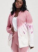 Plus Size Breast Cancer Awareness Zip Active Hoodie - Pink Tie Dye , , hi-res