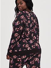 Breast Cancer Awareness Active Sweatshirt - Roses Black, FLORAL - BLACK, alternate