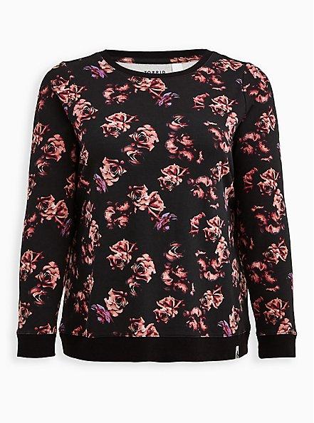 Breast Cancer Awareness Active Sweatshirt - Roses Black, FLORAL - BLACK, hi-res