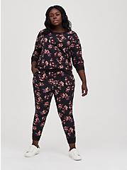 Breast Cancer Awareness Classic Fit Active Jogger - Roses Black, FLORAL - BLACK, alternate